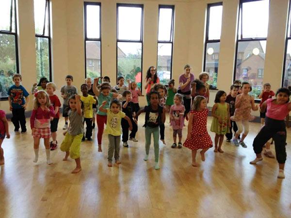 lots of children enjoying a dan tien party
